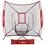 ZENY 7'×7' Baseball Softball Practice Net w/Strike Zone Hitting Batting Catching Pitching Training Net w/Carry Bag & Metal Bow Frame, Backstop Screen Equipment Training Aids