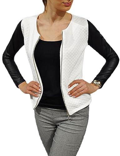 Moda PU mosaico chaquetas Slim de la mujer