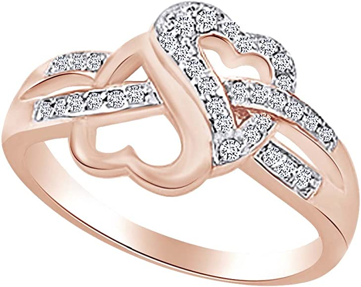 Double Heart Love Rings for Women Cubic Zirconia Crystal Wedding Promise Jewelry