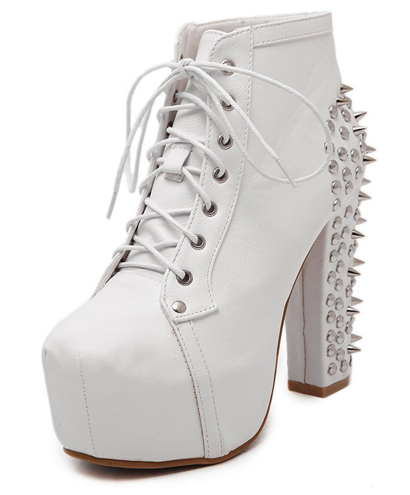Aisun Women's Stylish Studded Round Toe Hidden Platform Dressy Lace up Chunky High Heels Ankle Boots Booties White 6 B(M) US
