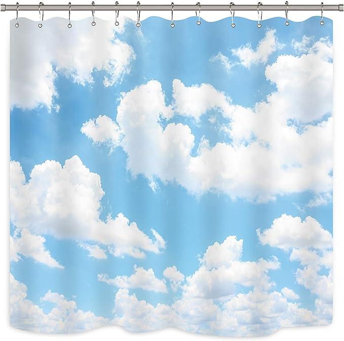 "Grassland Flowers Spring Scene Blue Sky 79/"" Waterproof Fabric Shower Curtain Set"