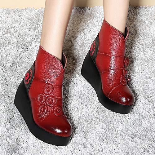 Gaslinyuan Frauen Zipper Stiefel Stiefel Zipper Keilabsatz Plattform Leder Blume Schuhe (Farbe : Rot, Größe : EU 39) - 0e28f3