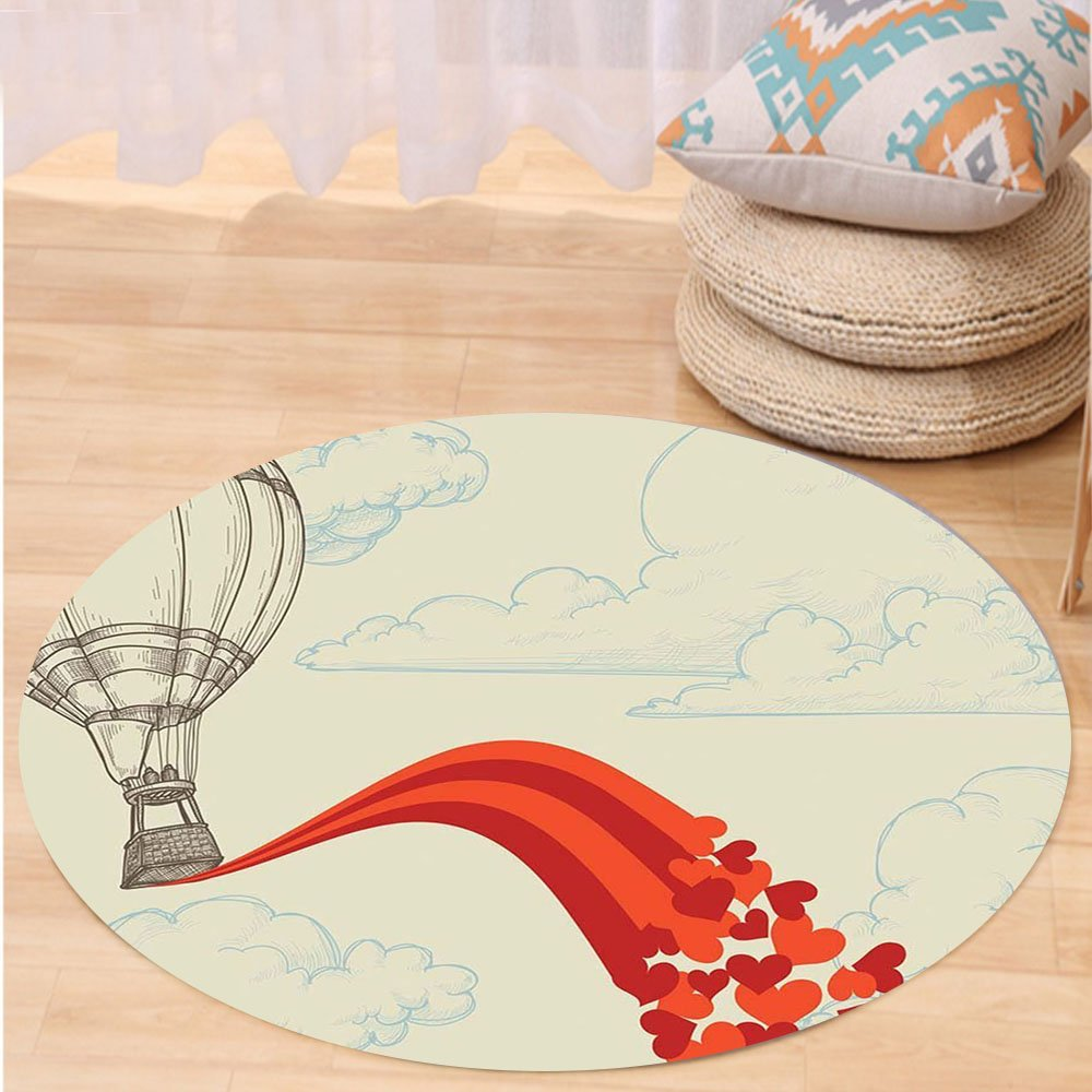 VROSELV Custom carpetVintage Decor Hot Air Balloon in the Clouds Air with Hearts Nostalgic Love Romantic Voyage for Bedroom Living Room Dorm Beige Red Round 72 inches