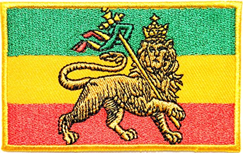 African Flag The Lion of Judah Rasta Rastafari Jamaica Reggae Logo Jacket T shirt Patch Sew Iron on Embroidered Badge Sign Costume (Sunglasses Monkey Jacket)