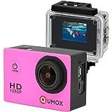 QUMOX SJ4000 fotocamera Azione Sport Cam Waterproof Full HD 1080p Video Helmet Cam con cassa impermeabile, Rosa