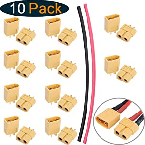 Hobbypark 10 Pairs XT60 Connectors Plugs Male Female Current 60A Amps for RC Lipo Battery Electric Engine Motor