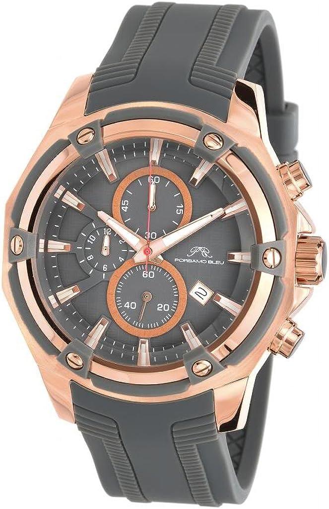 Porsamo Bleu Luxury Stavros Silicone Rose Tone Grey Men s Watch 481ASTR