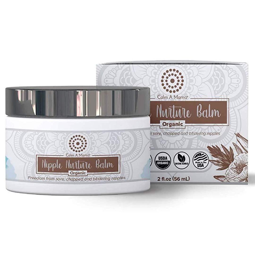 Gentle Nipple Nurture Balm for Breastfeeding Moms - Calm-a-Mama USDA Certified Organic Balm for Sensitive Skin - Baby Safe, No need to wipe off - 2oz