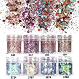 NICOLE DIARY 8 Boxes Nail Glitter Chunky Sequins Iridescent Flakes Ultra-thin Tips Colorful Mixed Paillette Face Body Hair Nail Art