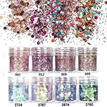 NICOLE DIARY 8 Boxes Chunky Nail Glitter Sequins Iridescent Flakes Ultra-thin Tips Colorful Mixed Paillette for Face Body Hair Nail Art