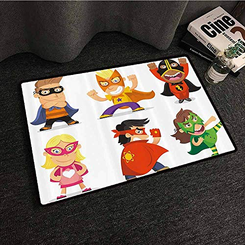 Superhero Outdoor Doormat Children Dressed as Superheroes Kids Playroom Girls Boys Nursery Babyish Picture Quick and Easy to Clean W31 xL47 Multicolor -