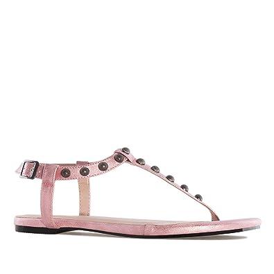 b41926296a5d4 Andres Machado AM5239.Sandales T-Bar Gloss.pour Femmes.Grandes Pointures 42  45  Amazon.fr  Chaussures et Sacs