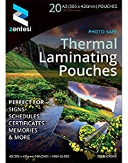 Zentesi A3 Laminating Pouches High Gloss Laminator Sheets 250 Micron (125 + 125 Microns) Glossy Laminate Pouch Sleeves - Pack of 50
