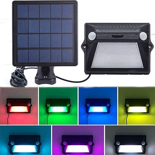 RGB Cambio de color lámpara solar de jardín Focos de exterior, Luz del sensor de movimiento
