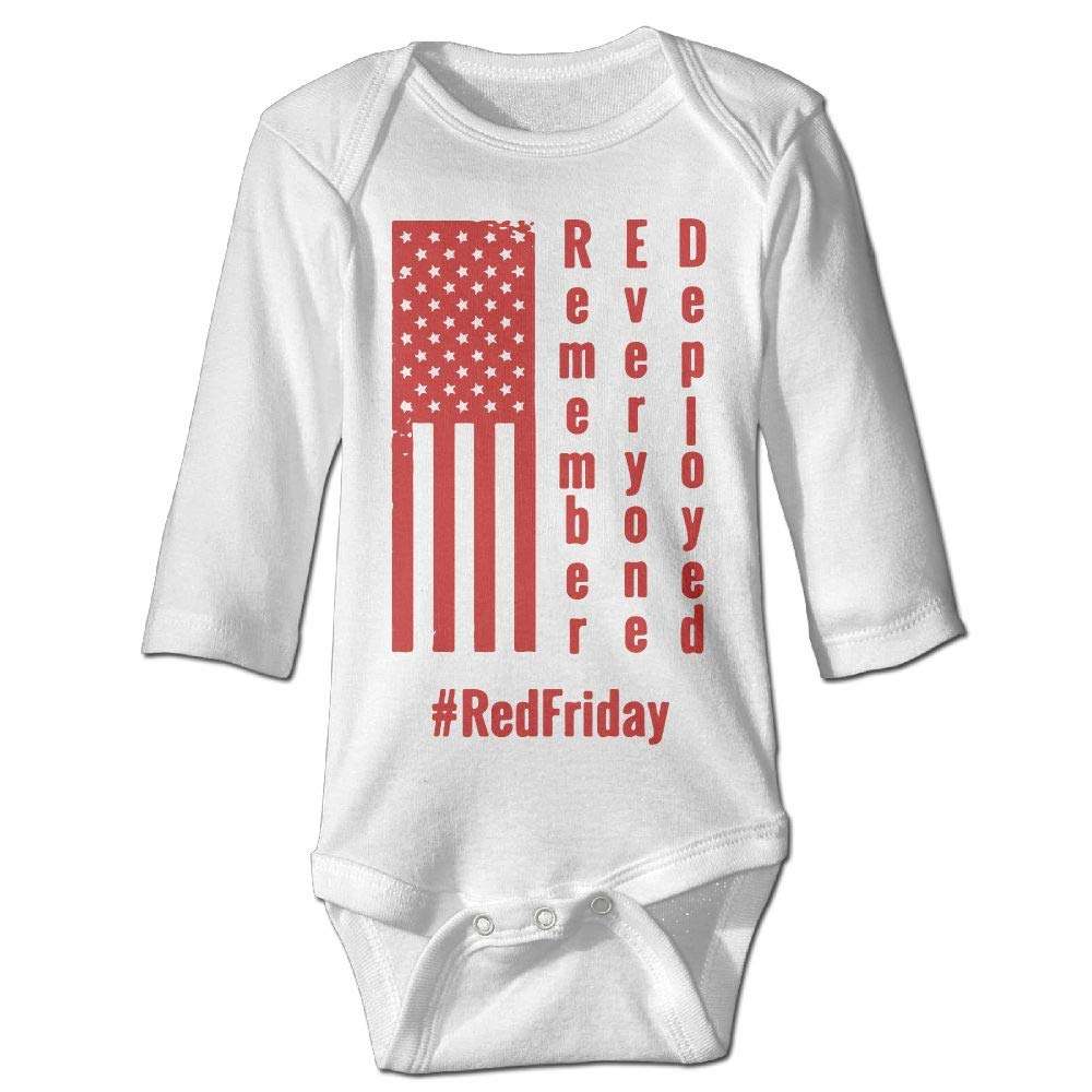 Red Friday Remember Everyone Deployed Toddler Baby Girl Boy Romper Jumpsuit Short Sleeve Bodysuit Tops Clothes