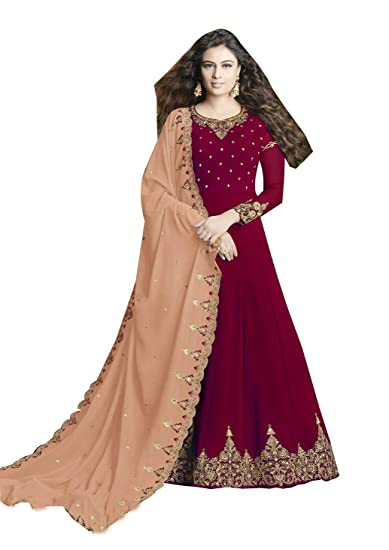 10e607282752b6 Paridhanlok Designer Indian Style Semi-Stitched Red Color Classical Gown  With Peach Dupatta in Georgette 20005D: Amazon.in: Clothing & Accessories