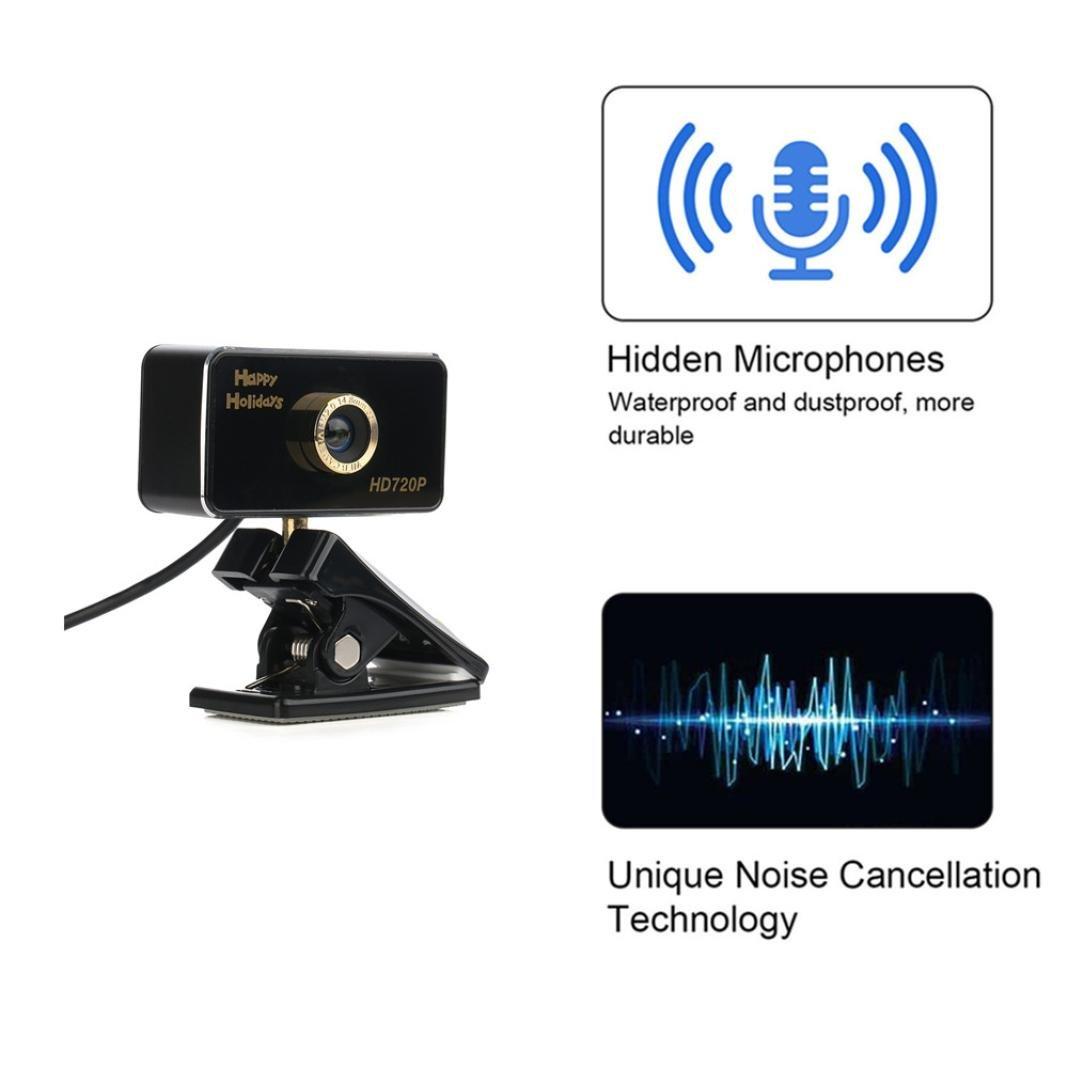HD 720p WebcamCamera, SUKEQ Waterproof USB Digital Calling Recording Video Camera Built-in Sound Digital LED, Aluminum Alloy Body Hidden Microphone Noise Cancellation PC Camera