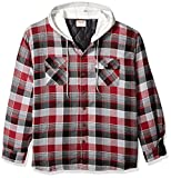 Wrangler Authentics Men's Big & Tall Long Sleeve Quilted Lined Flannel Shirt Jacket with Hood, Biking Red with Gray Hood, 3XL