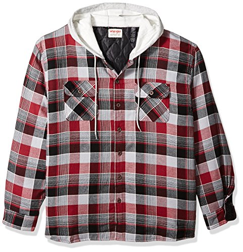 Wrangler Authentics Men's Big & Tall Long Sleeve Quilted Lined Flannel Shirt Jacket with Hood, Biking Red with Gray hood, 3XL (Quilted Flannel Jacket)