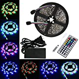 LTROP 5M/16.4 Ft Non-waterproof SMD 3528 RGB 300 LED Color Changing Kit with Flexible Strip Light + Mini44 Key IR Remote Control+ 12V 5A Power Supply
