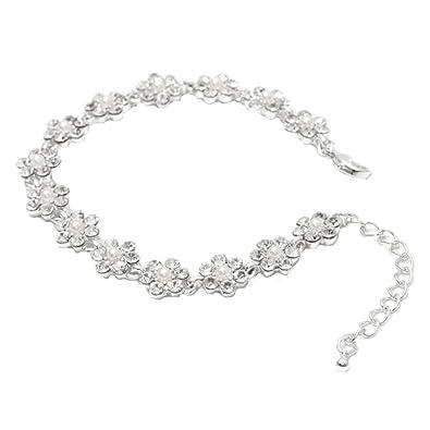 Brautschmuck armband blumen  Schmuckanthony Hochzeit Brautschmuck Silber Armband Bracelet ...