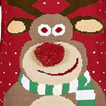 Señoras Invierno Navidad Hombre Mujer 3D Reno Rudolph Elf Regalo suéter de Navidad Top Knit Top riou: Amazon.es: Ropa y accesorios
