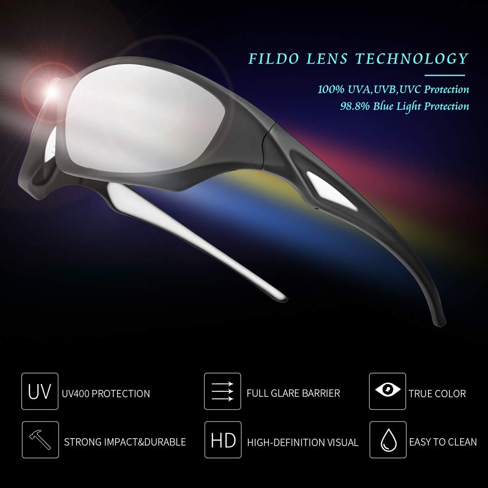FILDO HD Polarized Sunglasses for Men Women Youth Sports Sun Glasses UV Protections Wide Mens Shades with Anti-Impact Lenses for Cycling Baseball Jogging Fishing Tennis Hiking /…