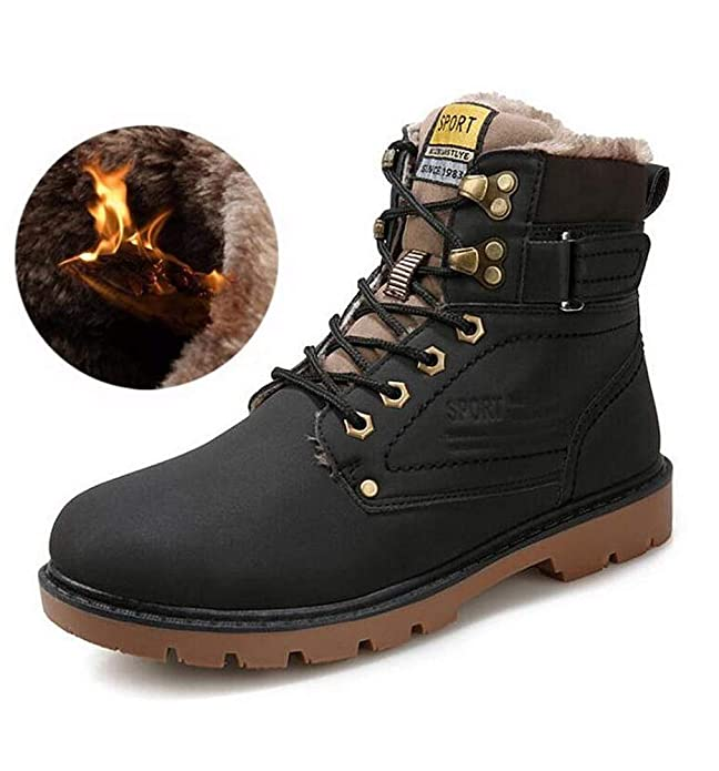 Amazon.com | Kemosen Men Waterproof Leather Ankle Boots Snow Boots Winter Outdoor Warm Hiking Martin Boots Fully Fur Lined | Snow Boots