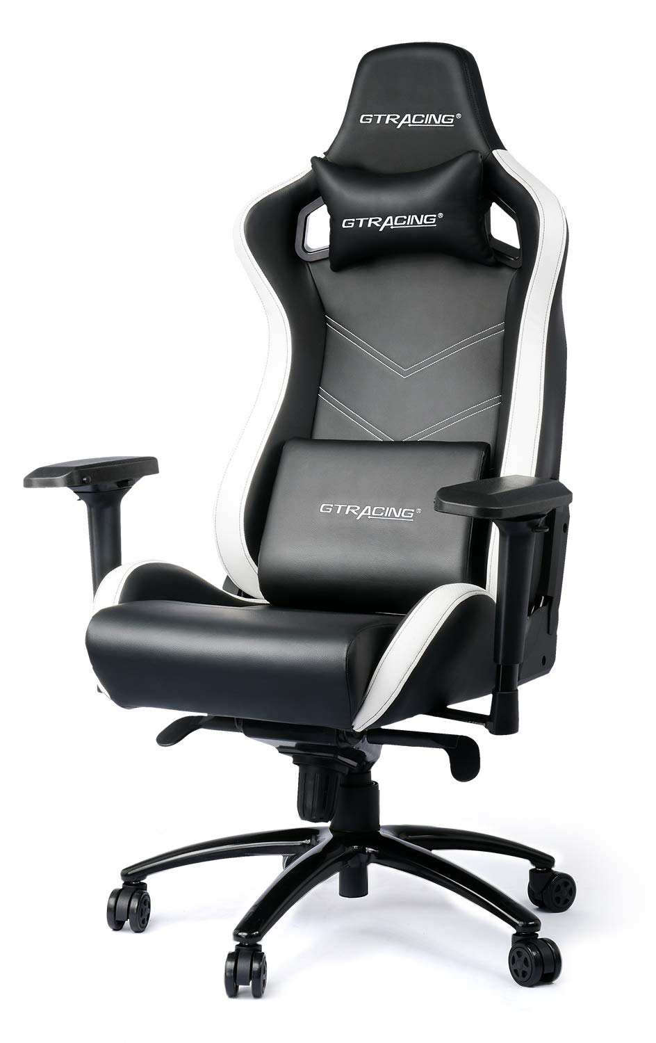GTRACING Luxury Gaming Chair Racing Style with High Backrest, Recliner, Swivel, Tilt, 4D Armrests, Rocker Seat Height Adjustment Mechanisms White Black