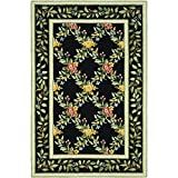 Cheap Safavieh Chelsea Collection HK60B Hand-Hooked Black Premium Wool Area Rug (3'9″ x 5'9″)