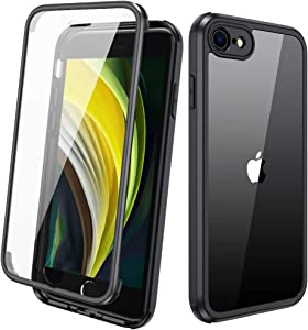 Diaclara iPhone SE 2020/iPhone 8 Case with Built-in Glass Screen Protector, Full-Body Protection Rugged Bumper Case, Anti-Scratch Slim Thin Case for iPhone SE 2nd Generation/iPhone 8 - Black
