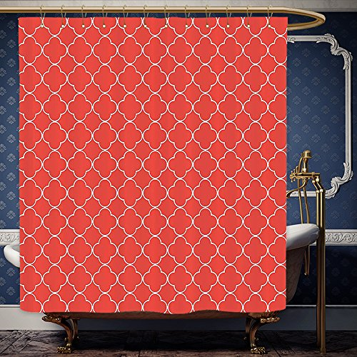 Wanranhome Custom-made shower curtain Quatrefoil Decor Arabesque Style Tile Motifs Oriental Royal Red Floral Petal Pattern Moroccan Print Scarlet and White For Bathroom Decoration 72 x 88 inches (Canada Lanterns Moroccan)
