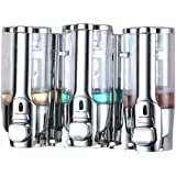 GreeSuit Triple Soap Dispenser Wall Mounted Shampoo Conditioner Shower Three Chamber Dispenser Soap Pump for Bathroom or Kitchen, Chrome