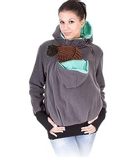 FengGa Women Maternity Striped Baby Pouch Carrier Hoodie Kangaroo Zipper Pregnancy Coat
