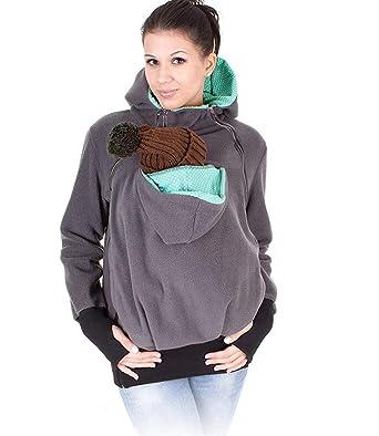 8632754ec59ef Monochef Women's Fleece Zip Up Maternity Baby Wearing Carrier Hoodie ...