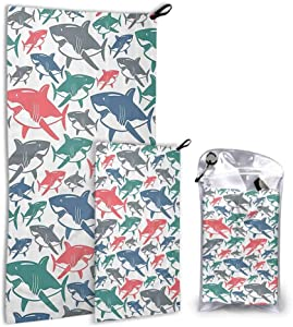 dsdsgog 2 Packs Quick Dry Baby Bath Towel Sea Animal Decor,Mix of Colorful Bull Shark Family Pattern Masters of Survival Kids Nursery,Multi White Towel Sets for Bathroom