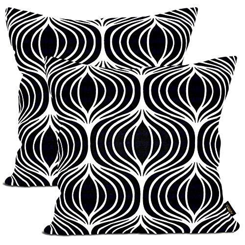 Arriba, 18x18 Inches | 45x45 Cms, Pack/Set of 2 Pcs, Modern Ikat Ogee Accent Printed Standard Size Pure Cotton Decorative Canvas Throw Pillow Cases | Cushions Covers.(Black & White)