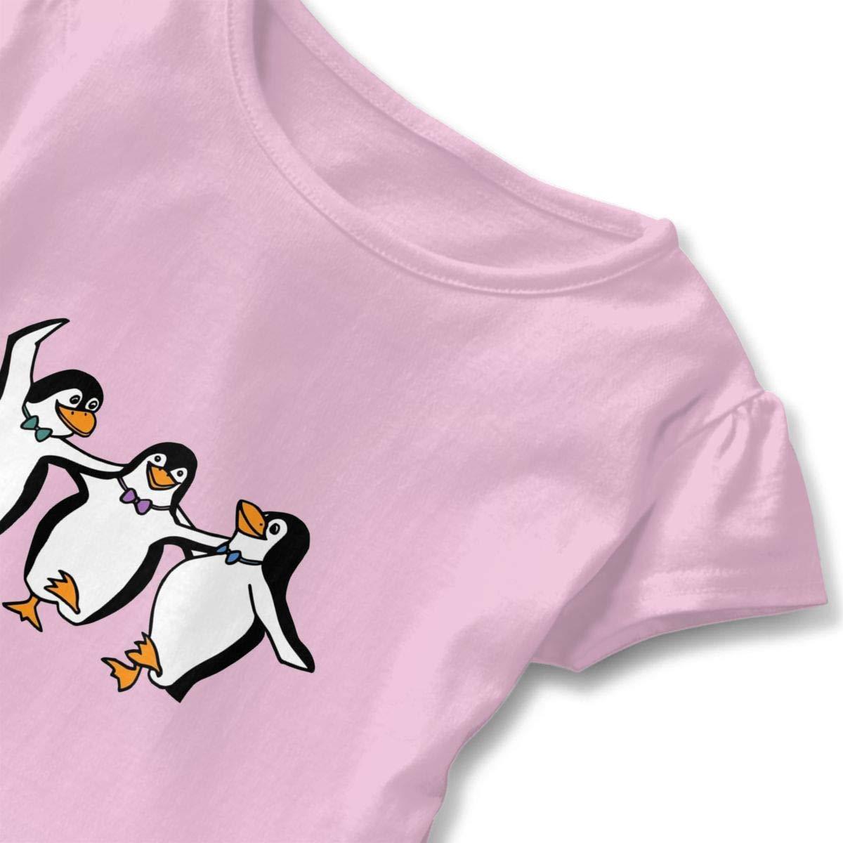 UAJAR Dancing Penguins Baby Girls Short Sleeve Flounce Dress Comfortable Skirts T-Shirt