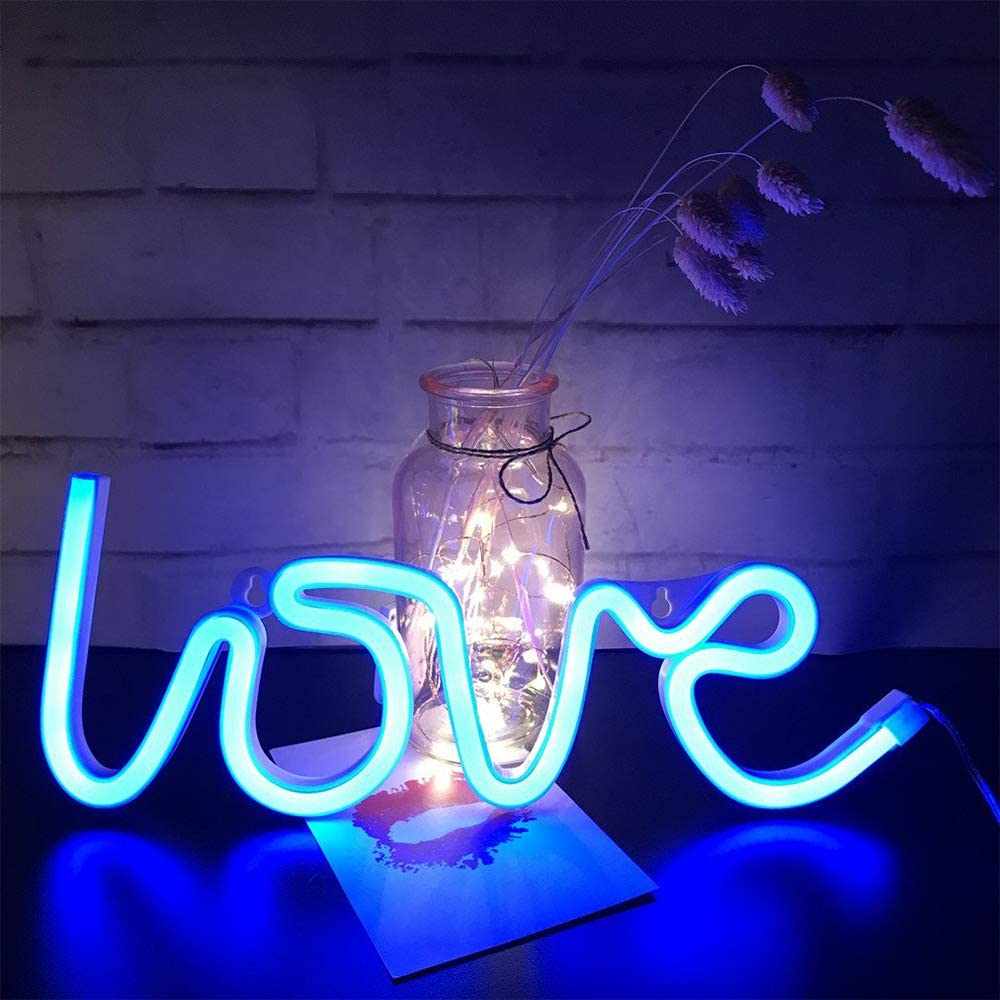 LED Neon Signs for Wall Decor,USB or Battery Operated,Night Lights Lamps Art Decor,Wall Decoration Table Lights,Decorative for Home Party Living Room (Love-Blue)