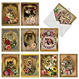 M6486OCB Feline Frames: 10 Assorted Blank All-Occasion Note Cards Featuring Vintage Cats Posing in Victorian Style Gilded Frames covered by Colorful Flowers, w/White Envelopes.