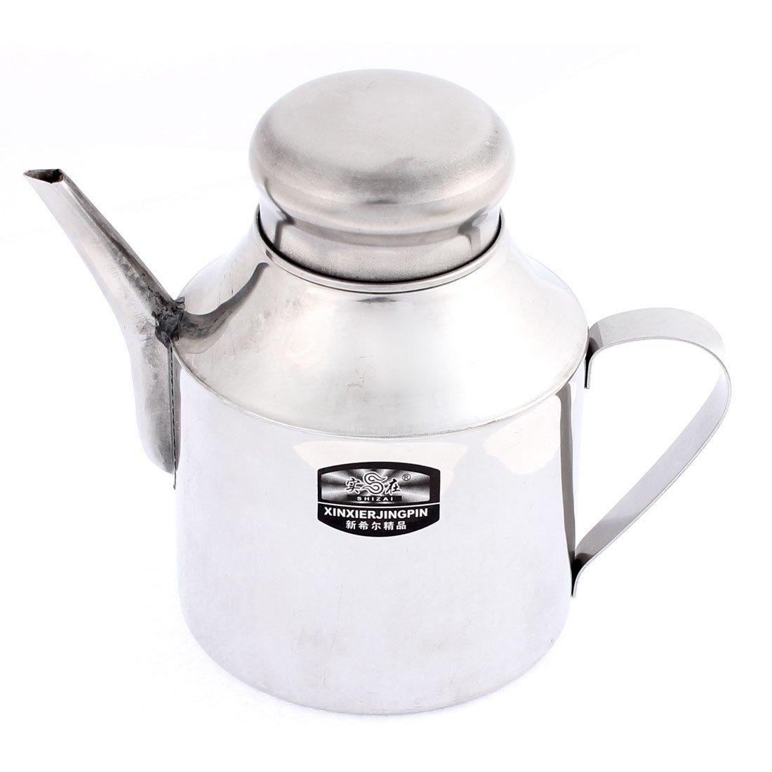 Stainless Steel Kitchen Lidded Shanked Oil Vinegar Sauce Pot 24oz 2pcs