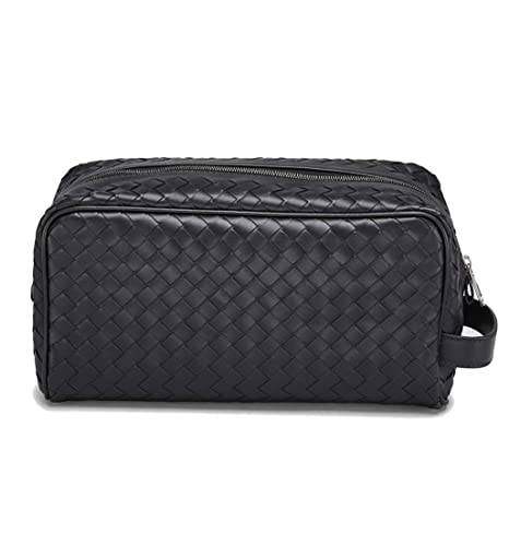 Bottega Veneta Intrecciato Leather Wash Bag Travel Toiletry Pouch Black   Amazon.co.uk  Luggage bdf4fcc8f9ef6