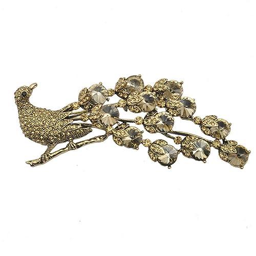 782338489c4 Amazon.com: TTjewelry Gold Tone Topaz Crystal Peacock Vintage Brooch Pin  Rhinestone Crystal Gold Tone: Jewelry