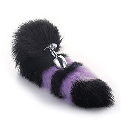 Black & Purple Color Interval Three Sizes Fluffy Faux Fox Tail Charms Role Play Costume Party Masquerade Cosplay Game Prop (L): Toys & Games