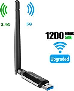 Wireless USB WiFi Adapter for Desktop - 1300Mbps 5G/2.4G 802.11AC 5Dbi Antenna WiFi Card for PC Laptop USB 3.0 Windows 10/8.1/7 Mac 10.6/10.15 Wireless Card- USB Computer Network Adapters for Gaming