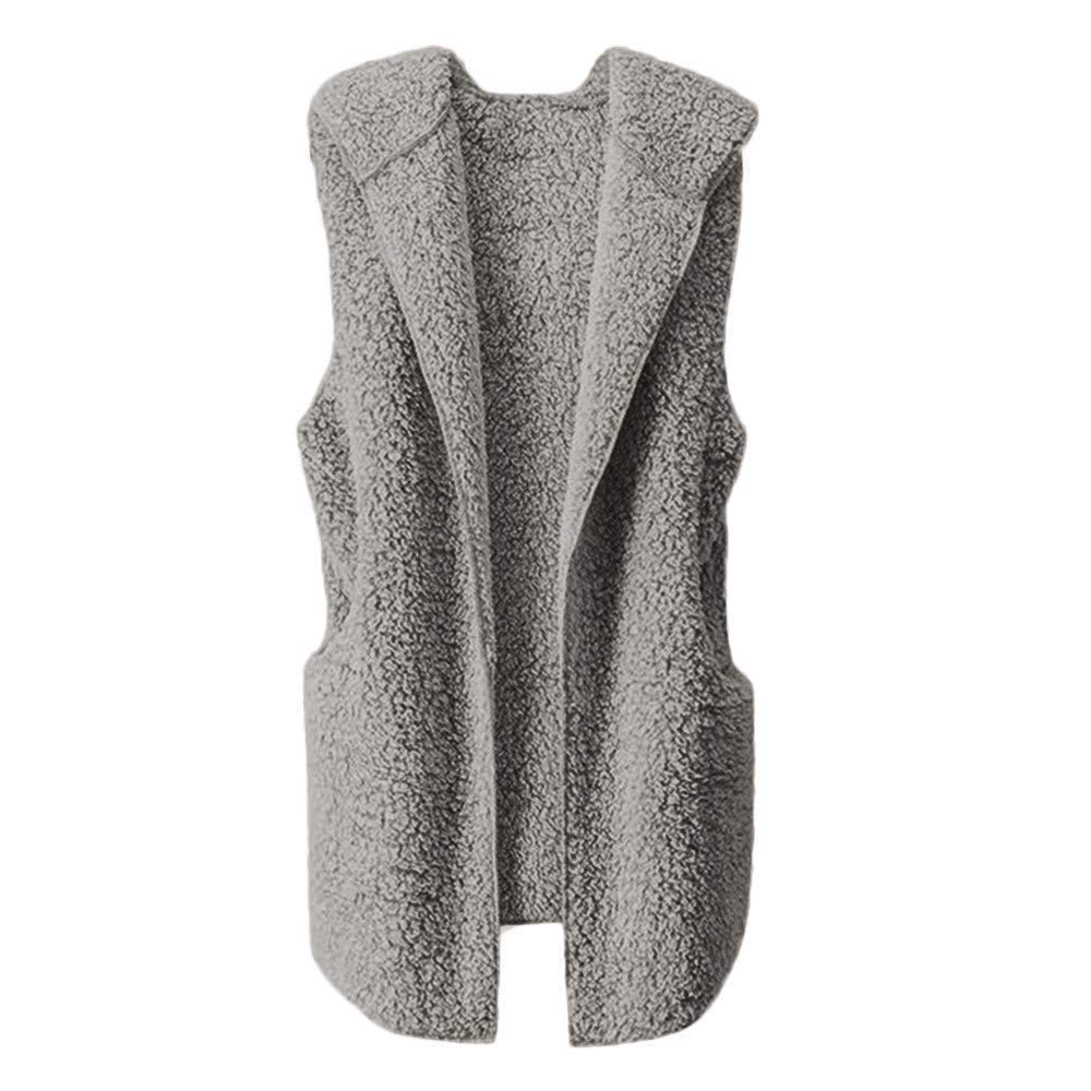 Womens Coats And Jackets Liraly Fashion Vest Winter Warm Hoodie Outwear Casual Coat Faux Fur Zip Up Sherpa Jacket (US-4 /CN-S, Gray)