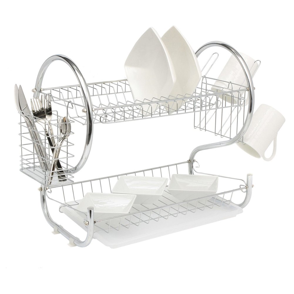 Dish Drainer Rack, 2 Tier Iron Chrome Plate Dish Cup Cutlery Drainer Rack, Plate Drainer Rack Kitchen Organizer, Tray Bowls Holder Tableware Container Storage