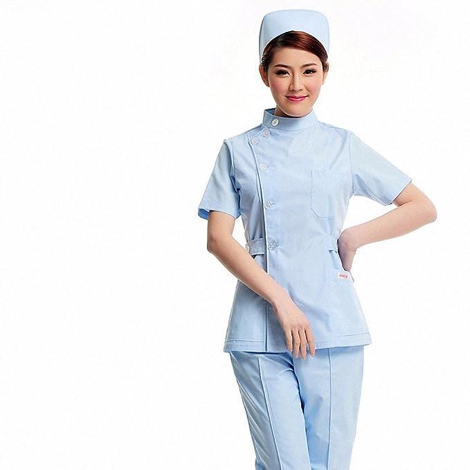 Xuanku Enfermera Dental De Verano De Manga Corta Bata Blanca Belleza Farmacia Split Monos De Palo, XXL, Blue Coat.: Amazon.es: Ropa y accesorios