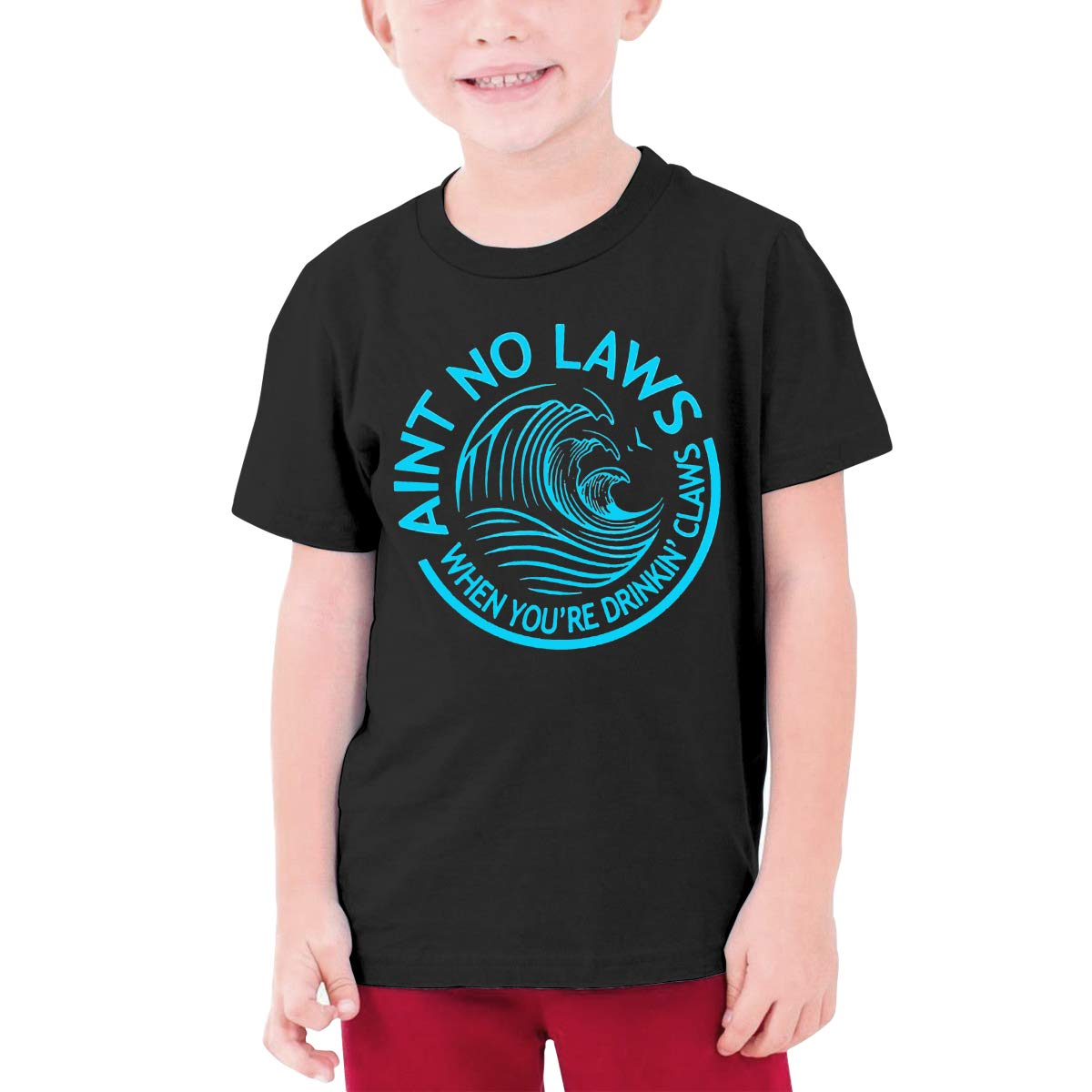 Alffe Aint No Laws When Drinking Claws T-Shirt Boy Kids O-Neck 3D Printing Youth Fashion Tops