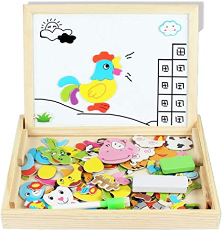 Kinder Scribble Board Lernspielzeug Holz Magnetic Animals Collage